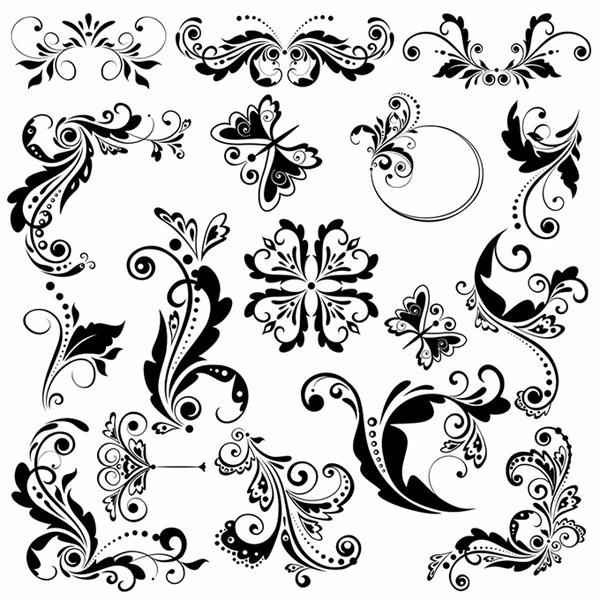 0 点 关键词: 黑白蝴蝶花纹设计矢量素材,边框,蝴蝶,花边,装饰花纹