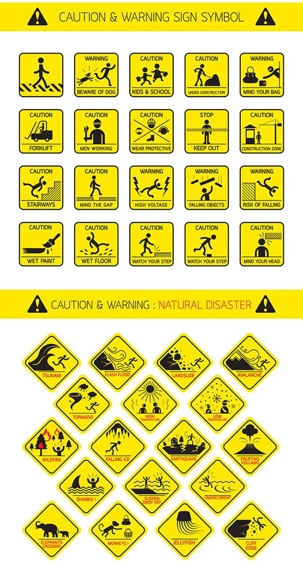 关键词: 安全警示图标设计矢量素材,狗,叉车,维修工人,禁止通行,施工