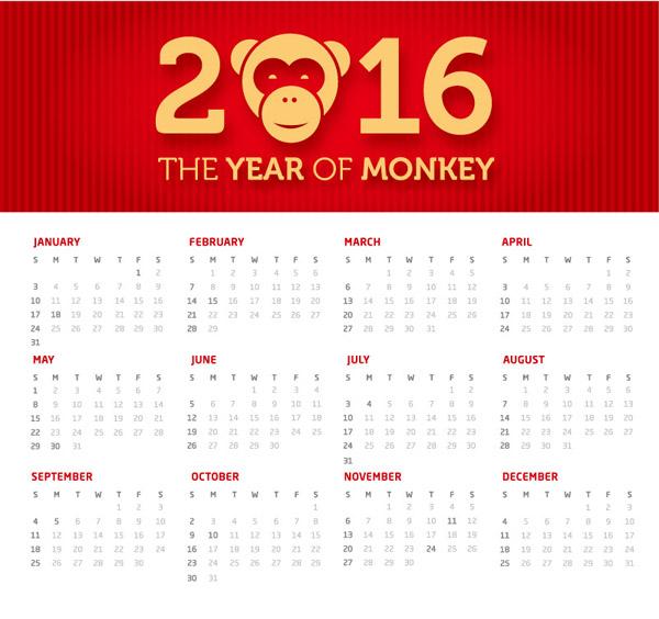猴年全年日历