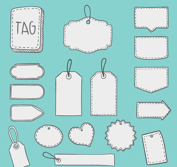 关键词: 手绘空白吊牌矢量素材,,标签,吊牌,空白,爱心,手绘,时尚标签