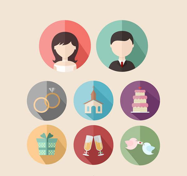 圆形婚礼图标_素材中国sccnn.com图片