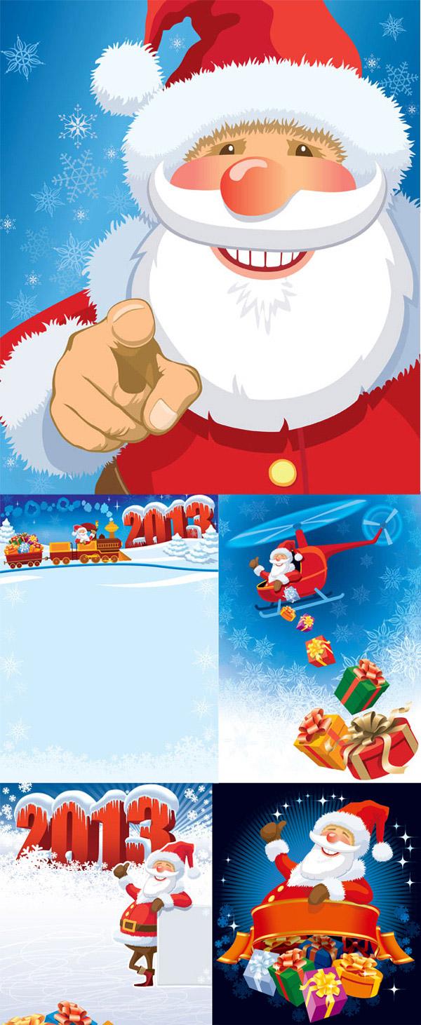 可爱卡通圣诞老人雪地背景矢量图下载