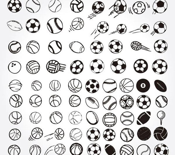 手绘球类设计矢量素材下载