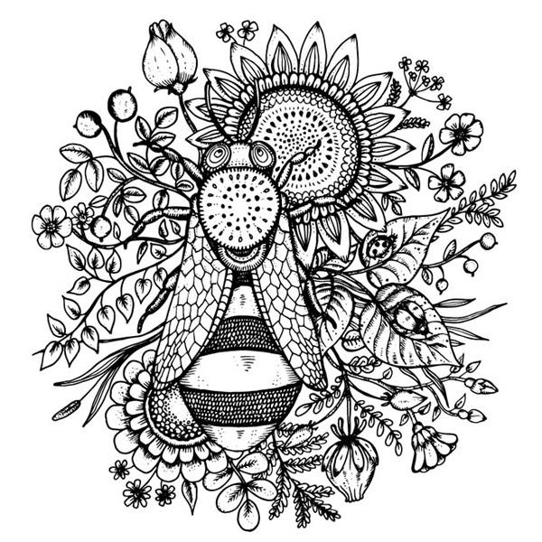 手绘蜜蜂和葵花