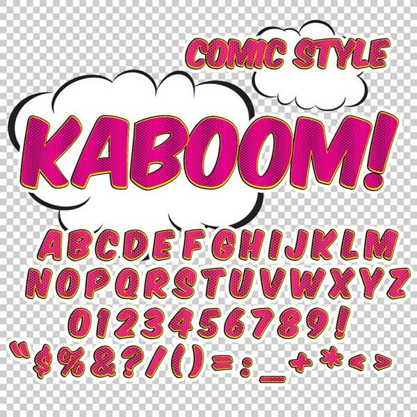 漫画风格艺术英文字母设计矢量素材