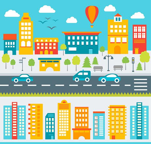 矢量建筑景观所需点数: 0 点 关键词: 城市建筑风景矢量素材,扁平化