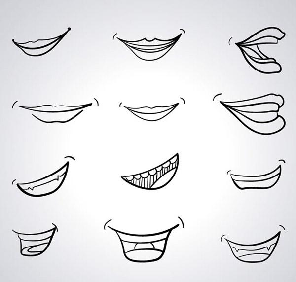 手绘嘴部设计
