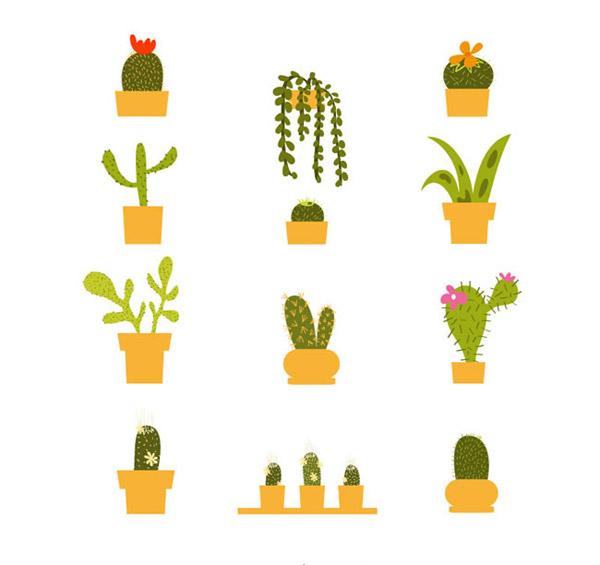 绿色仙人掌盆栽设计矢量素材下载,仙人掌,盆栽,植物,图标,仙人球,矢量