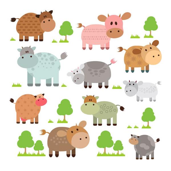 素材分类: 矢量卡通动物所需点数: 0 点 关键词: 卡通牛和树木矢量