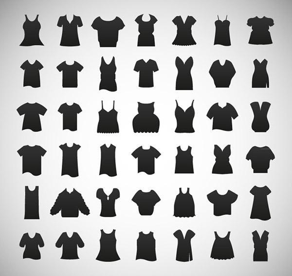 女性服饰剪影图标