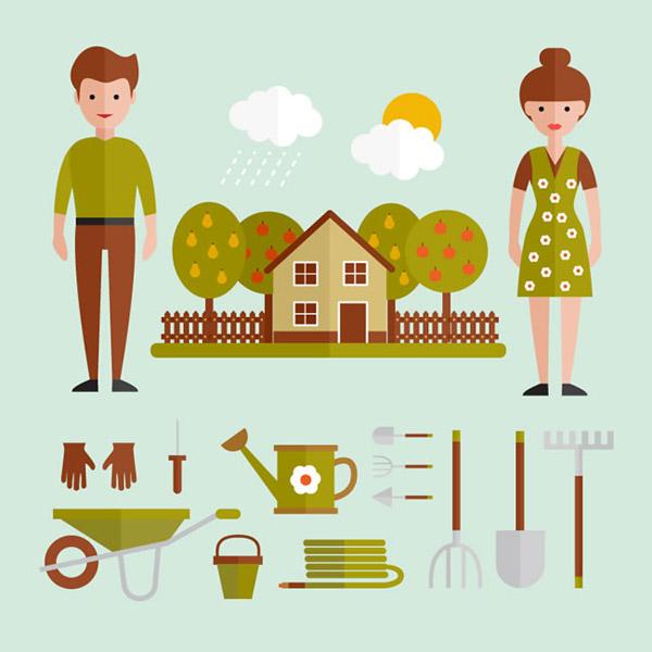 矢量生活用品所需点数: 0 点 关键词: 扁平化人物和园艺工具矢量素材