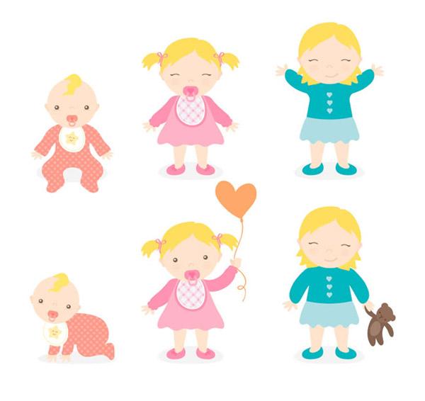 卡通婴儿和女孩