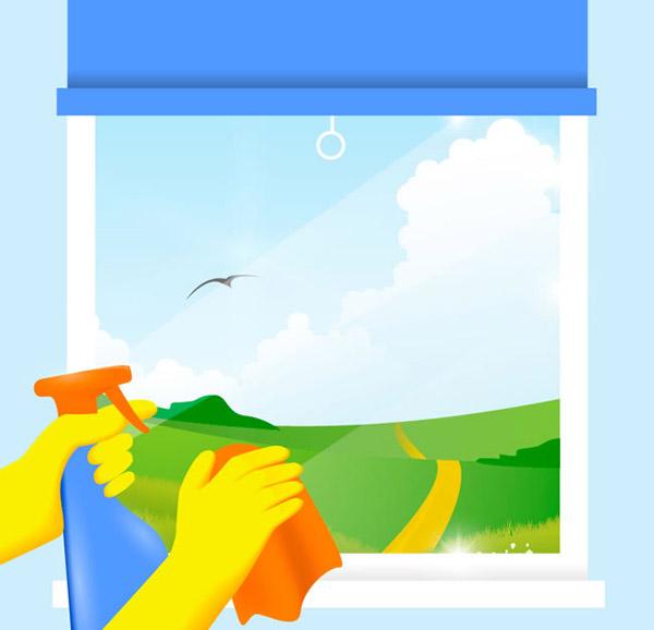 春季,郊外,风景,草地,云朵,手套,扫除,擦玻璃,玻璃清洁剂,矢量图,ai格