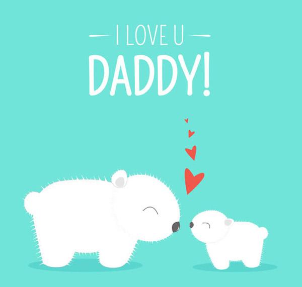 素材分类: 矢量父亲节所需点数: 0 点 关键词: 卡通白熊父亲节贺卡图片
