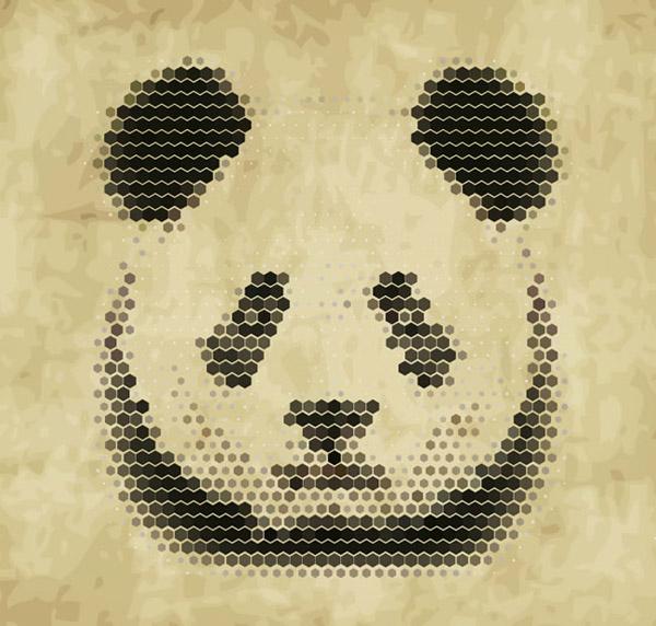 抽象熊猫头像_素材中国sccnn.com