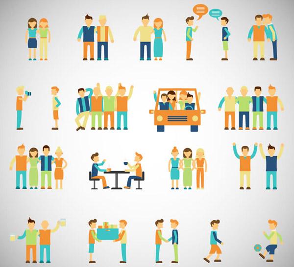 卡通朋友图标矢量素材下载,语言气泡,聚会,逛街,运动,朋友,人物,图标,旅行,社交,矢量图,AI格式