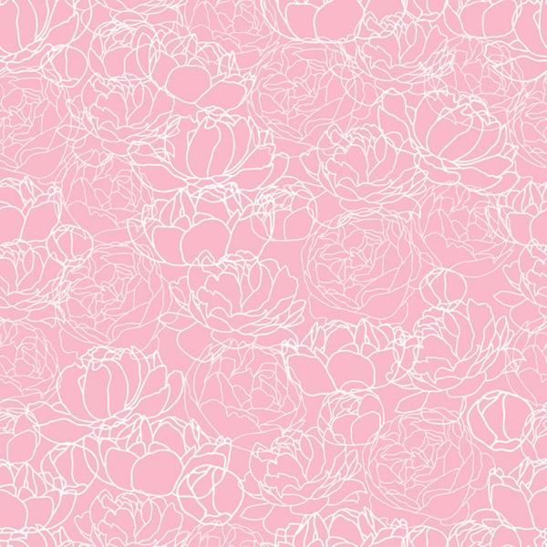 粉色牡丹花纹无缝背景矢量素材下载