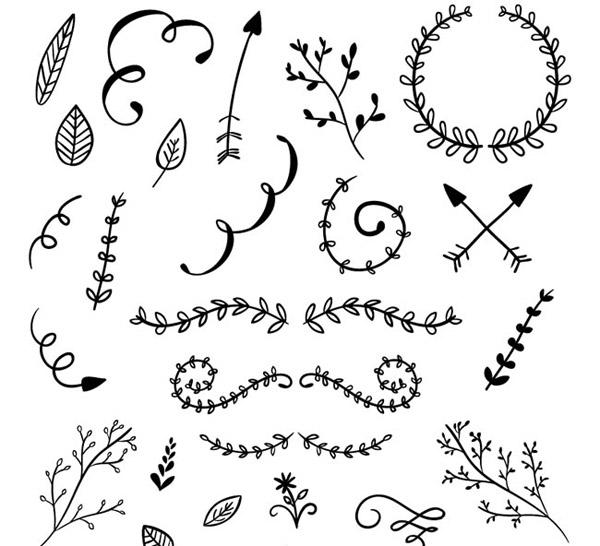 手绘花边与树枝