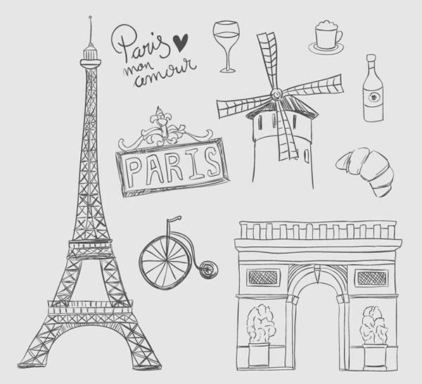巴黎元素矢量素材下载,埃菲尔铁塔,挂牌,艺术字,红磨坊,香槟酒,凯旋门