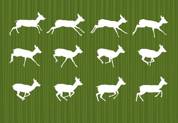 白色奔跑的鹿剪影矢量素材下载