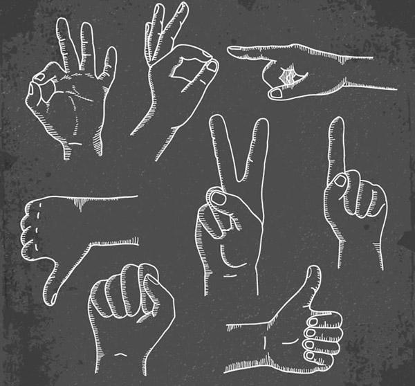 手绘手势矢量