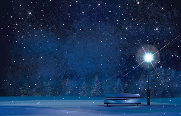 夜晚雪景图片大全下雪-冬日晚上景色矢量