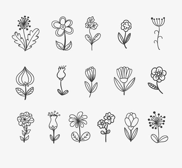 时尚手绘花朵设计矢量素材,花朵,花卉,线描,绘画,时尚,黑白,线条,手绘
