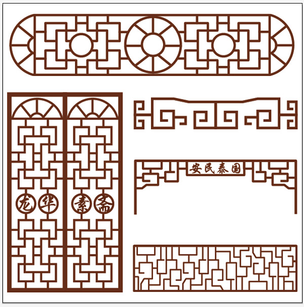 中式窗格矢量