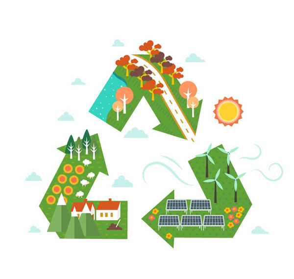 上的世界矢量素材下载,树木,河流,太阳能,能源,太阳,发电风车,房屋