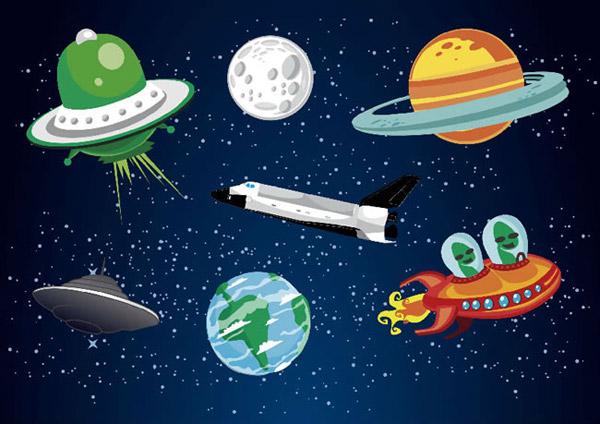 卡通太空元素_素材中国sccnn.com