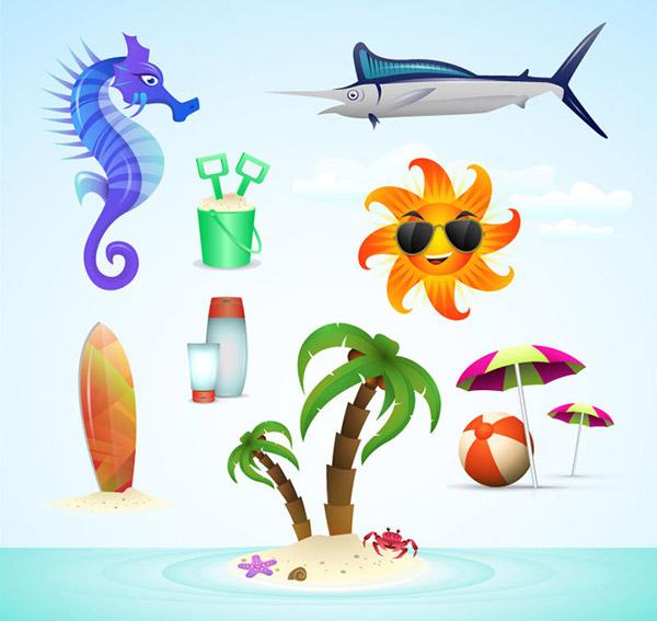 矢量各式图标所需点数: 0 点 关键词: 夏日沙滩图标矢量素材,海马