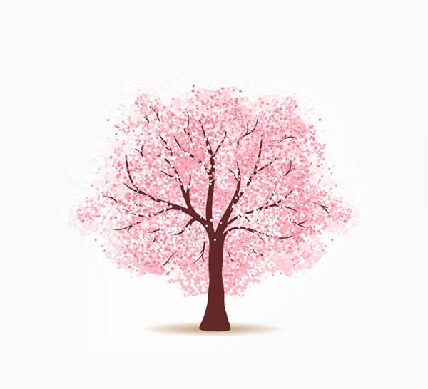 粉色樱花树矢量