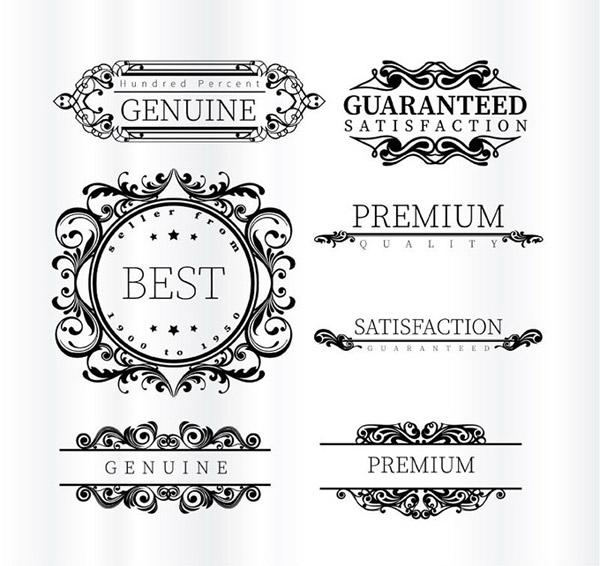 花纹与优质标签矢量素材