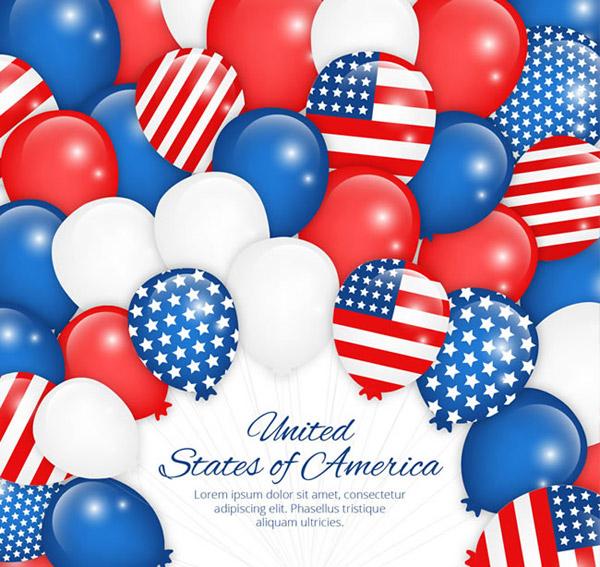 0 點 關鍵詞: 美國星條旗元素氣球背景矢量素材下載,氣球,氣球束,美國