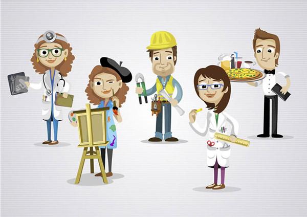卡通职业人物设计矢量素材下载