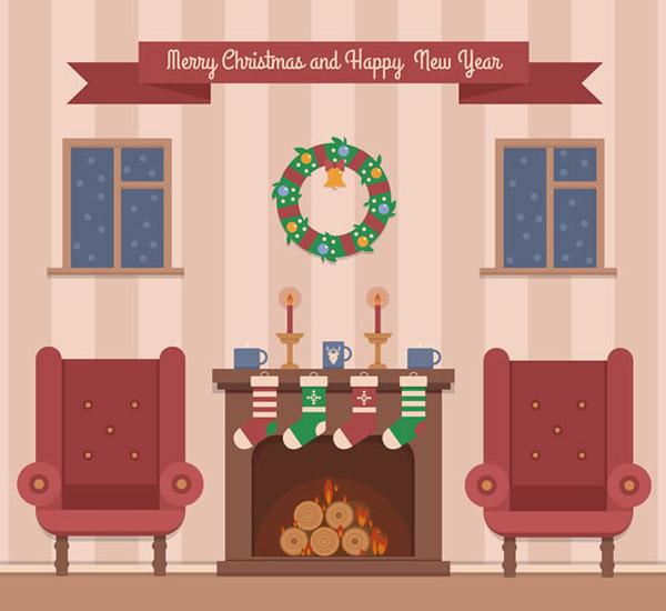圣诞节客厅矢量
