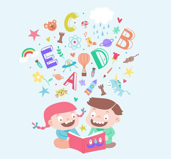 卡通看书儿童图片