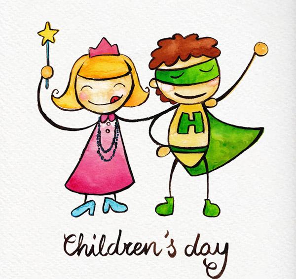 儿童,魔法,英雄,儿童节,水彩,贺卡,六一,绘画,手绘,矢量素材,可爱,ai