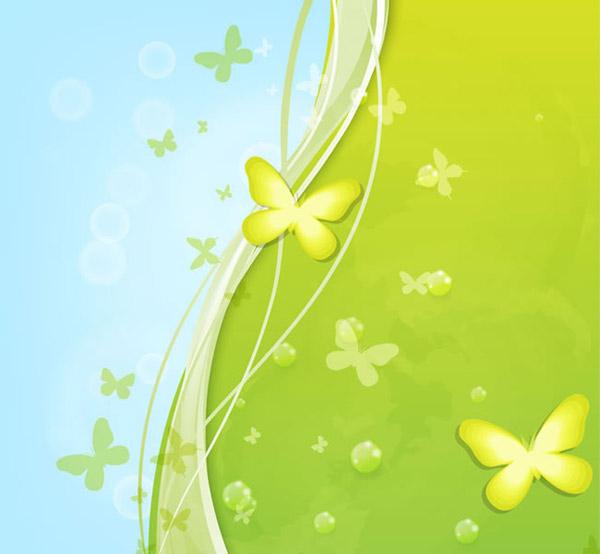 清新绿色蝴蝶背景