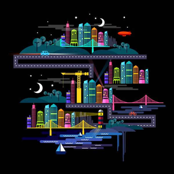 素材分类: 矢量插画所需点数: 0 点 关键词: 夜晚的城市插画矢量素材