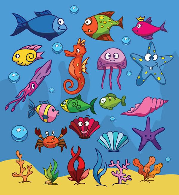 素材分类: 矢量卡通动物所需点数: 0 点 关键词: 卡通海底生物设计