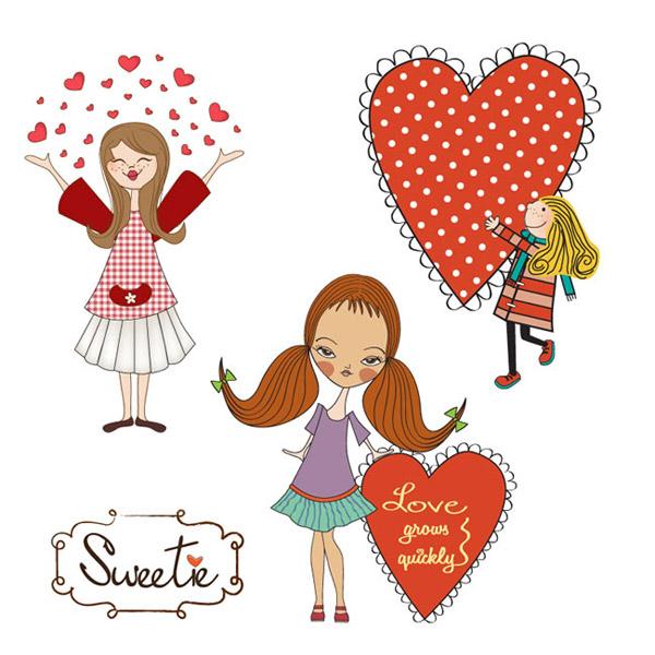 卡通女孩与爱心矢量素材下载