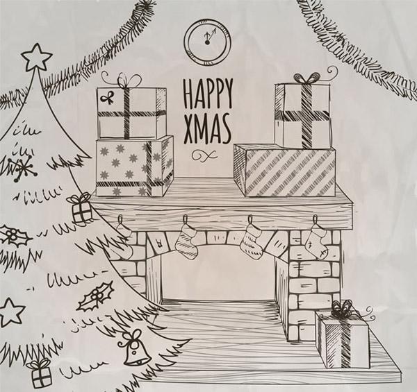 圣诞树,圣诞节,时钟,礼盒,壁炉,礼包,客厅,手绘,纸张,矢量图,ai格式