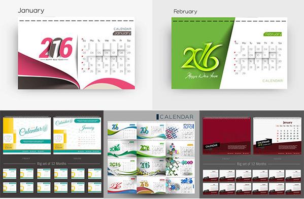 矢量素材,矢量图,设计素材,创意设计,2016,日历素材,日历表,日历版式