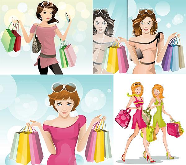 卡通购物美女设计矢量素材