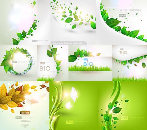 绿色植物叶子元素矢量素材,环境保护,生态,梦幻光斑,绿叶背景,树叶