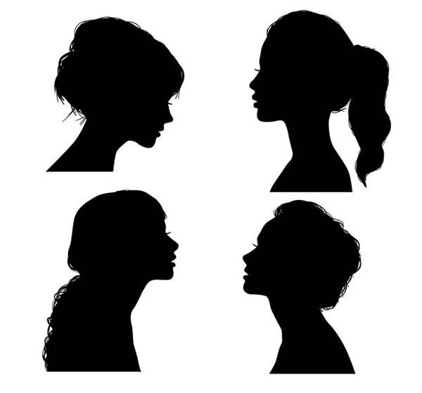 女子侧脸剪影