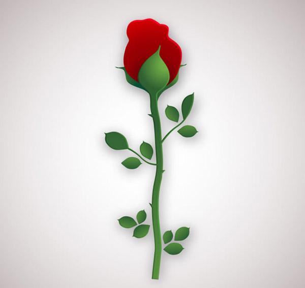 玫瑰花剪影_单枝红玫瑰花