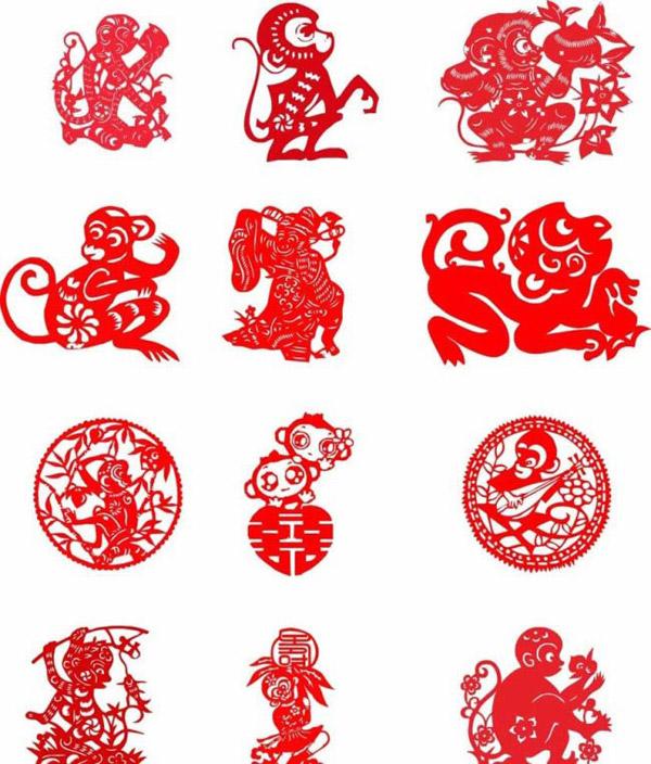 窗花剪纸,剪纸图案,民间剪纸,剪纸花,猴年剪纸,中国剪纸艺术,儿童剪纸