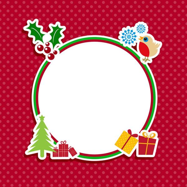 圆形圣诞元素框架矢量素材下载